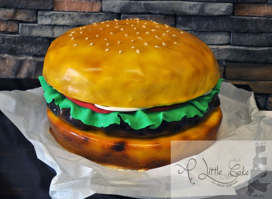 This groom\'s cake is sculpted into a Hamburger from vanilla cake ...