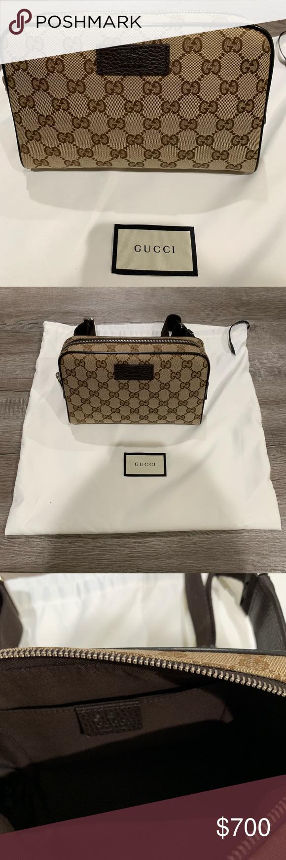b562d224afd Gucci Guccisima Canvas Waist Belt Fanny Bag NEW Style 449174 (Waist Pack)  Beige Canvas