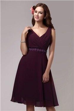 Graceful A-Line V-Neck Beading Knee-Length Sandra's Bridesmaid Dress EF74901