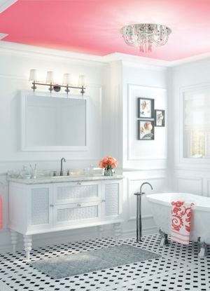 Love the black & white bath with the pink ceiling