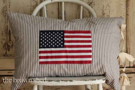 American Flag On Ticking Stripe Pillow Cover By Thebrownshed 59 00 Stripe Pillow Pillows Ticking Stripe
