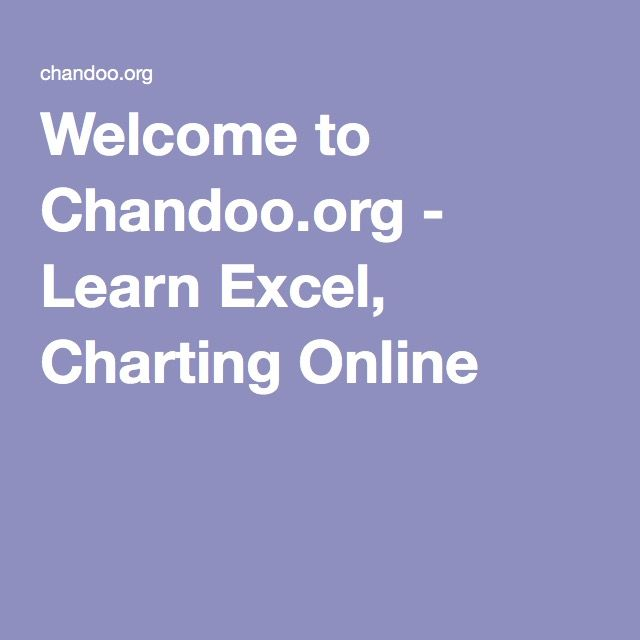 Welcome to Chandooorg - Learn Excel, Charting Online 1000
