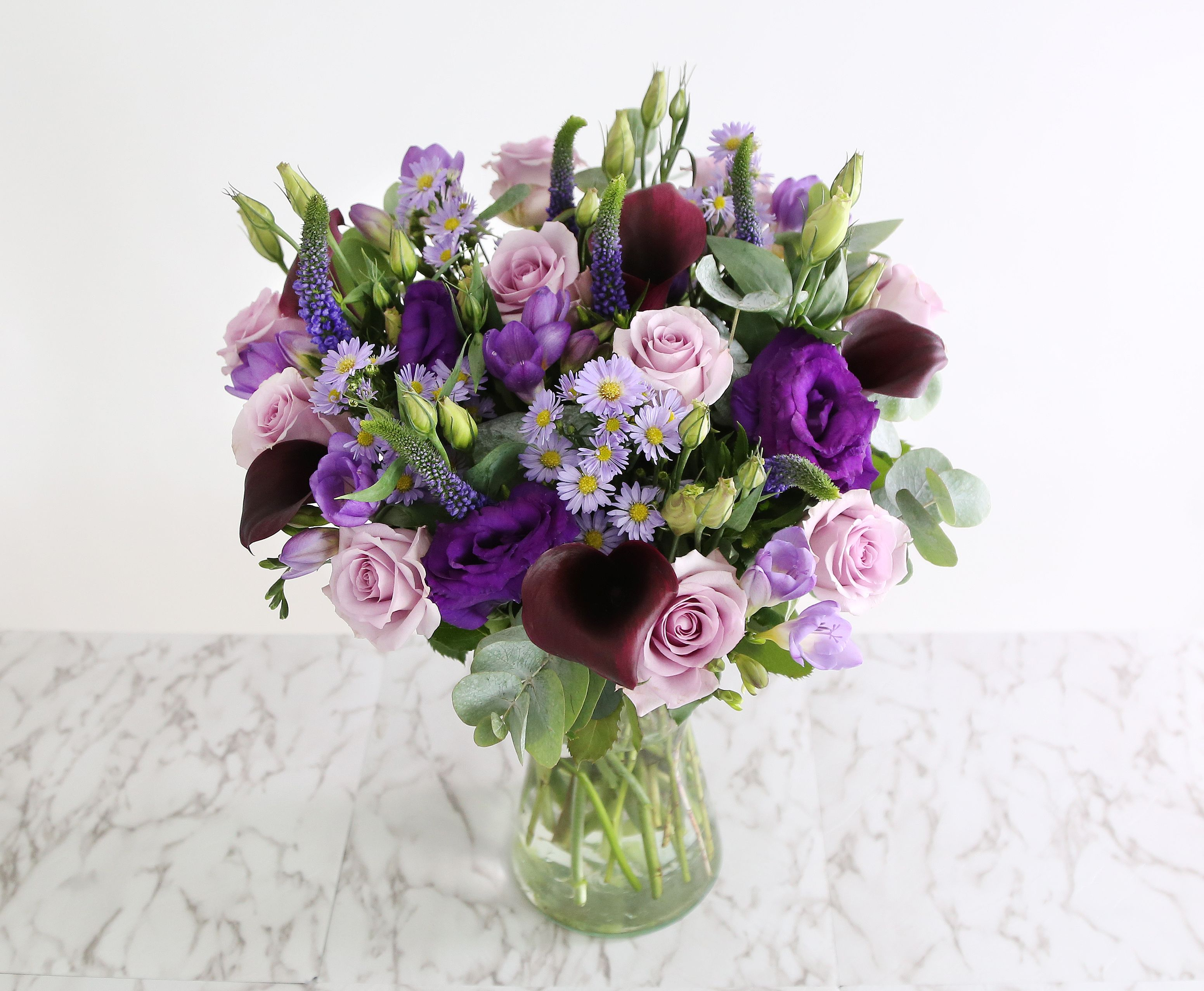 Purple Haze Bouquet 10 Rose Ocean Song 4 Blue Lisianthus 6 Purple Veronica 4 Lilac Aster 6 P Flowers Delivered Flower Delivery Flower Arrangements