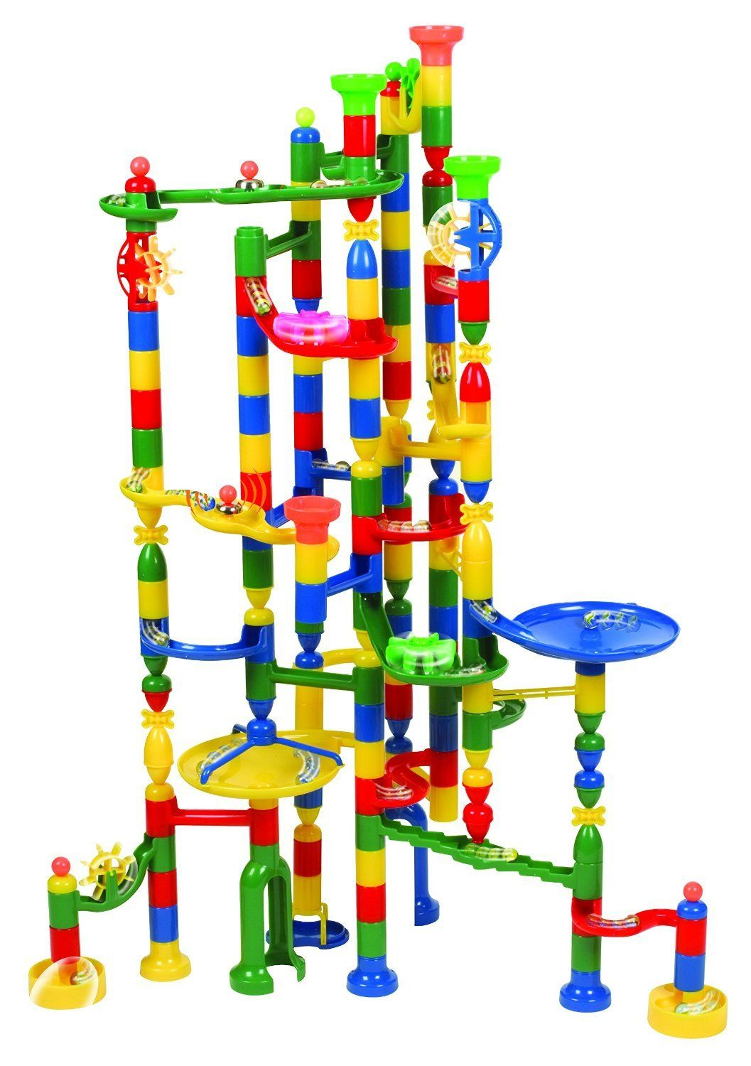 Edushape Marbulous Marble Run - 202 Pieces + 50 Marbles!! (Total 252 Pc Set) Sturdy Setups with Clear Step-by-step Illustrated Instructions in Four Different Skills Levels!
