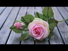 How to make crepe paper rose (tutorial) | Cách làm hoa hồng ghép cánh bằng giấy nhún #crepepaperroses