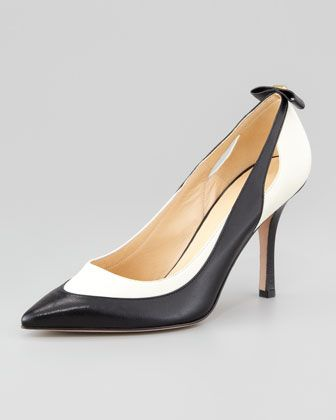 kate spade new york precious bicolor bow-back pump - Neiman Marcus