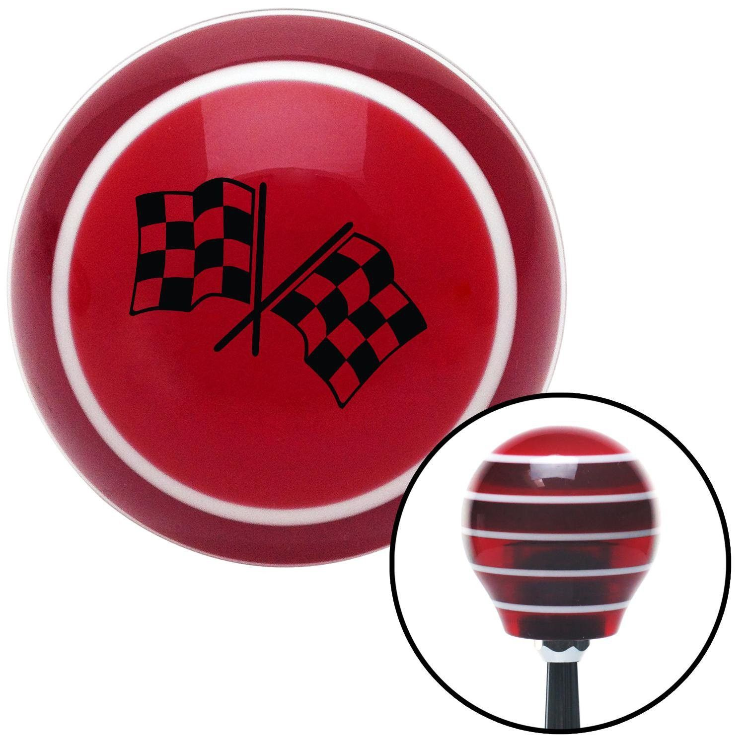 Black Dual Checkered Flags Red Stripe Shift Knob with M16 x 15 Insert