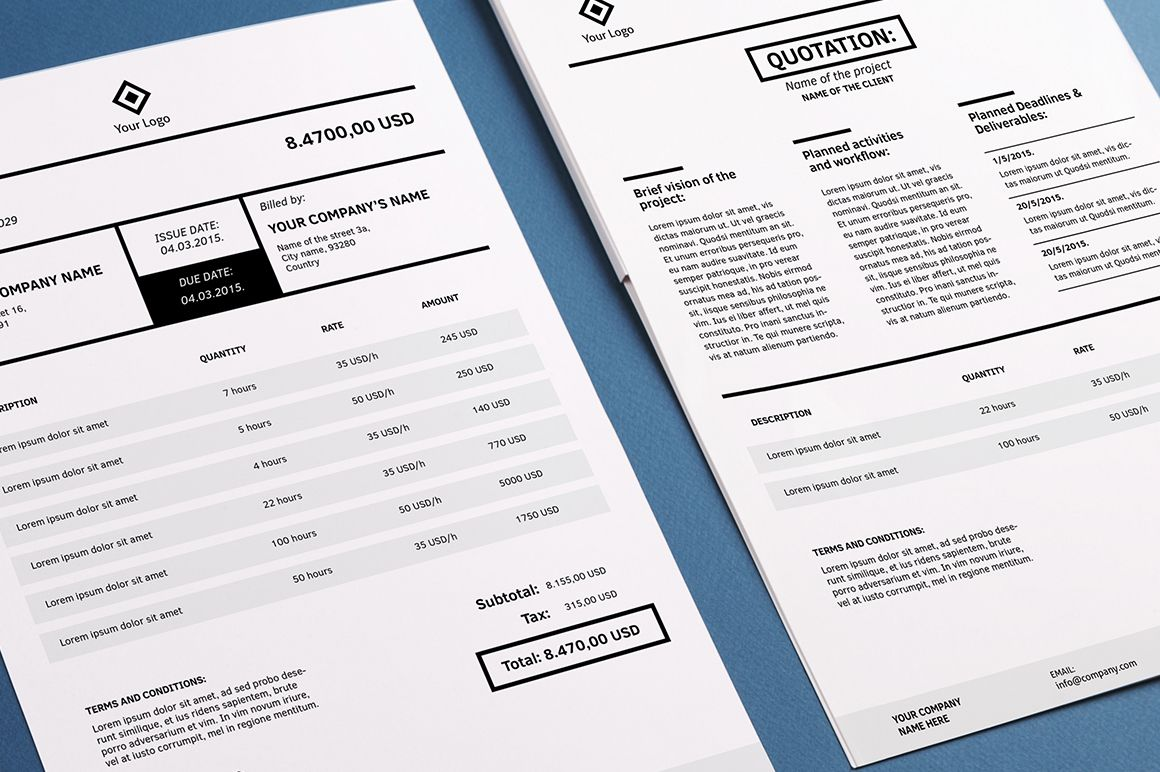 Invoicing Template Indesign By Design Shop On Creative Market L