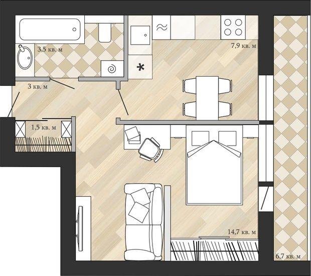 Фотография Планировки в стиле , Квартира, Перепланировка, Анастасия - plan de maison en v gratuit