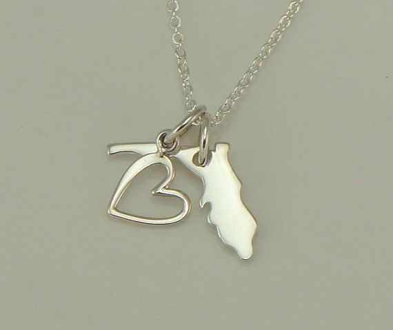 Florida Sterling Silver Charm Necklace-Heart Charm-Florida Love on Etsy, $26.00