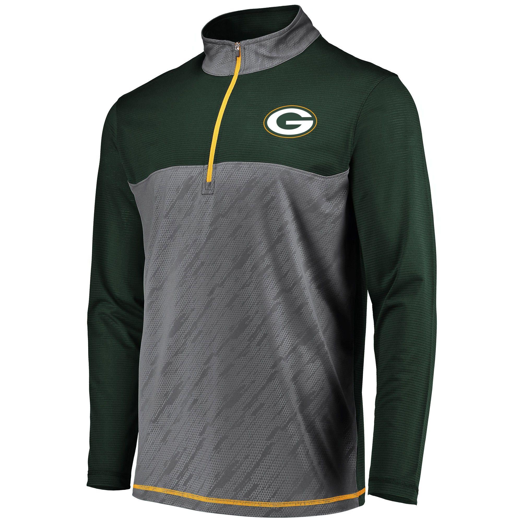 83a5d76d4 Green Bay Packers Men s Striped Geo Fuse  Gray 1 2 Zip Xxl ...