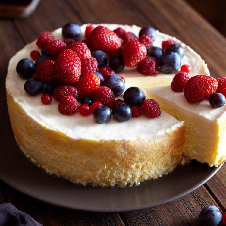 طريقة عمل تشيز كيك بالفرن حلويات تشيز كيك Cheesecake Fresh Fruit Cake Food Receipes