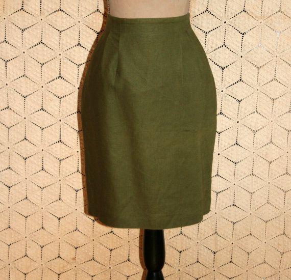 Olive Green Skirt Green Linen Skirt Short Skirt by MagpieandOtis