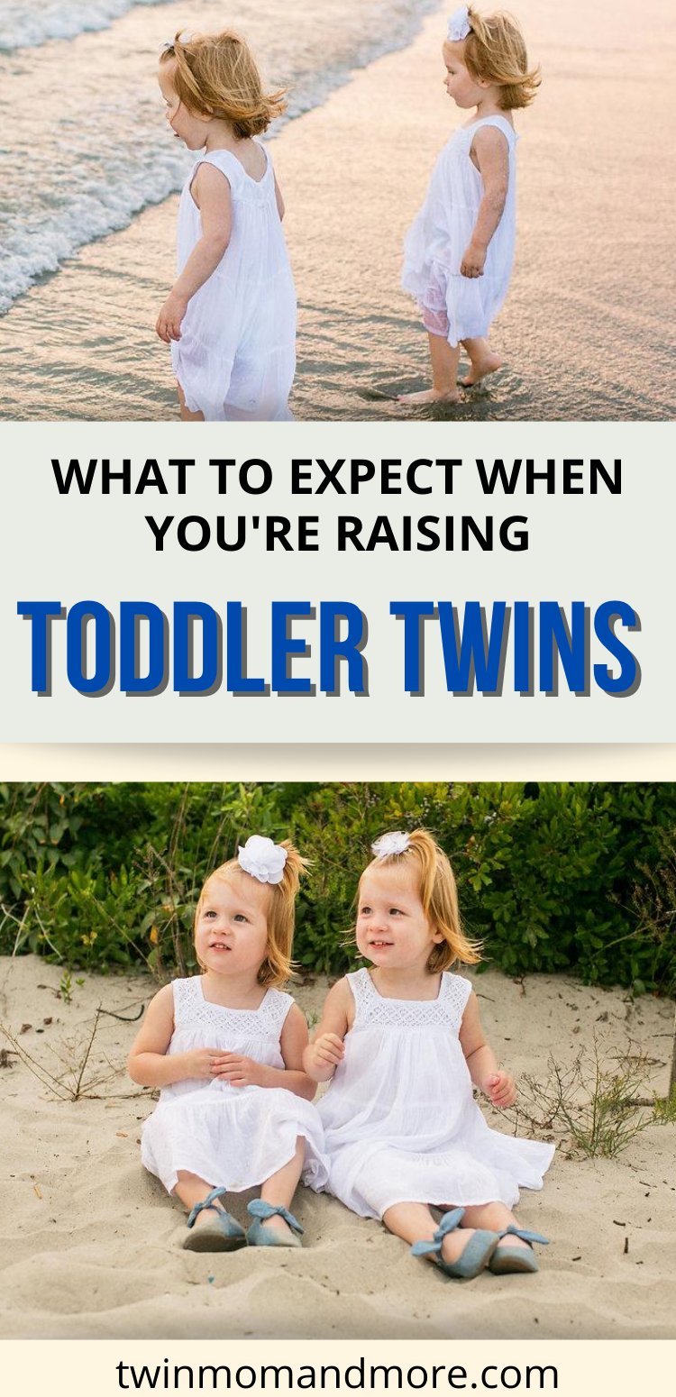 Raising twins is fun and exhausting all in one. Here's the honest truth about what to expect with toddler twins. You will have double tantrums in the terrible twos, but they will also bring you so much joy! Read on for more of what to expect with twin toddlerhood. #twins #twintoddlers #toddlers #twinmom #parentingtips