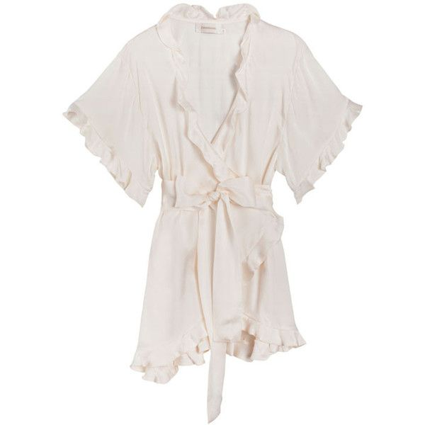 Zimmermann Pearl Winsome Flutter Robe Top (29.665 RUB) via Polyvore featuring tie belt и zimmermann