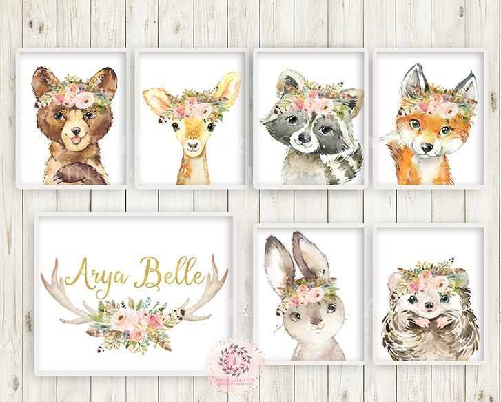 7 Boho Fox Bear Deer Bunny Wall Art Print + Antler Name Personalized Woodland Feather Nursery Baby Girl Room Hedgehog Raccoon Blush Floral Bohemian Watercolor Set Prints Printable Decor