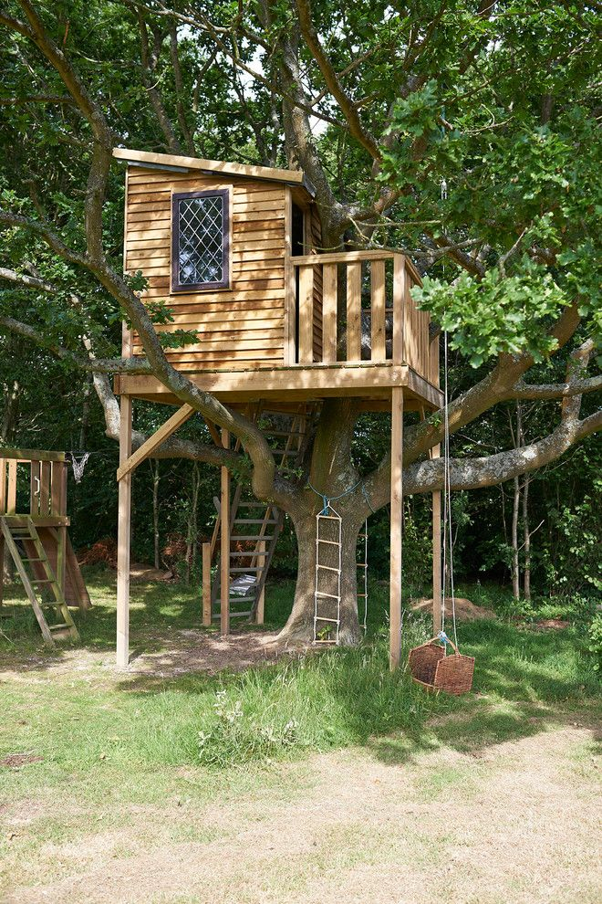 Treehouses For Kids Playset Swing Stairs Ladder Window Balcony