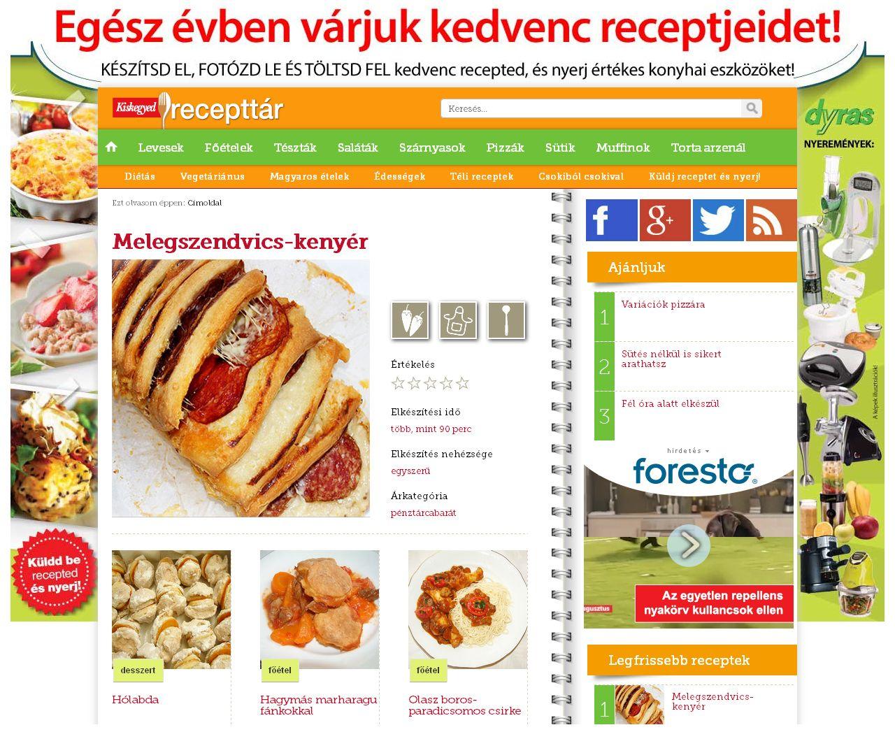 A www.recepttar.hu mai nyitó oldala