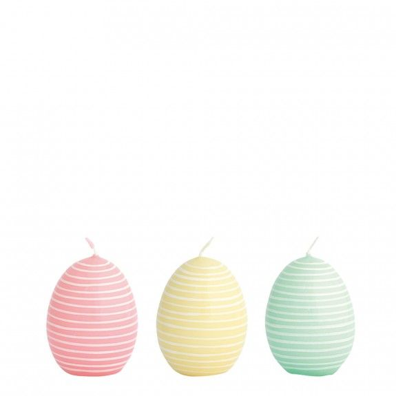 GreenGate Candle Easter Eggs Stripe Pastel Mix - Small Assorted