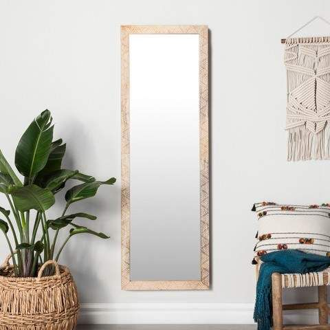 Opalhouse Carved Dot Natural Wood Floor Mirror Natural