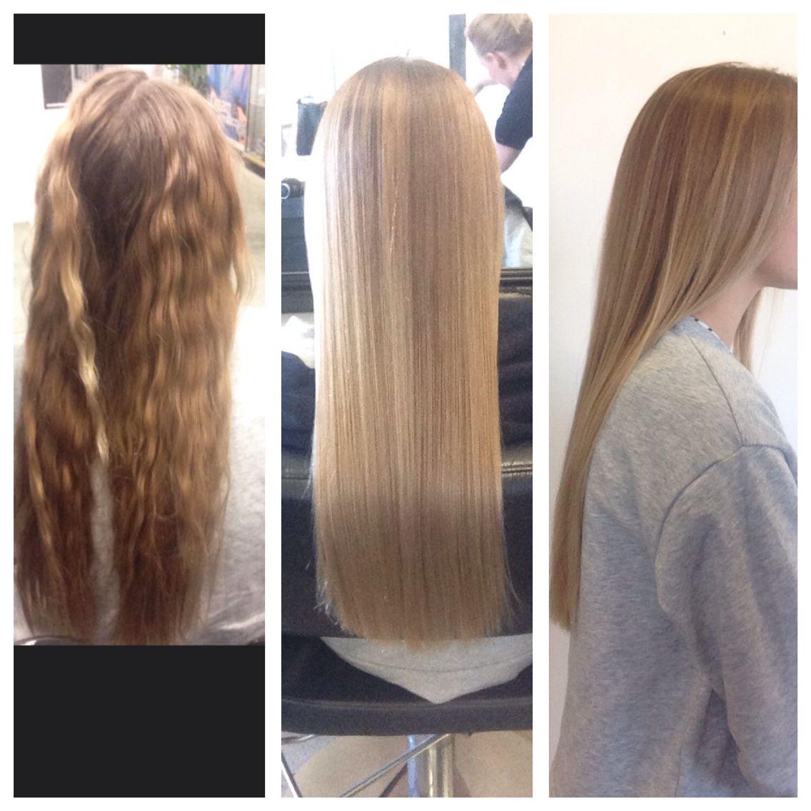 Long hair blow dry