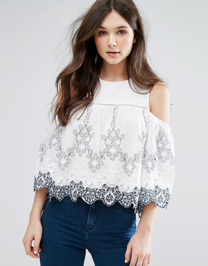8d025d190d7d1 QED London Cold Shoulder Broderie Anglaise Top - Cream. Top by QED London