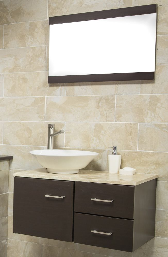Espejo con gabinete color bano ideal para un ba o moderno for Modelos de muebles para banos pequenos