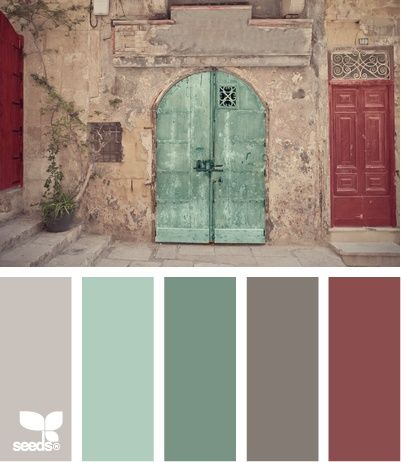 Street Tones: Gray, Seaglass Green, Faded Turquoise, Dark Grey, Rusty Red I already have these colors in my bedroom but I really like the red...