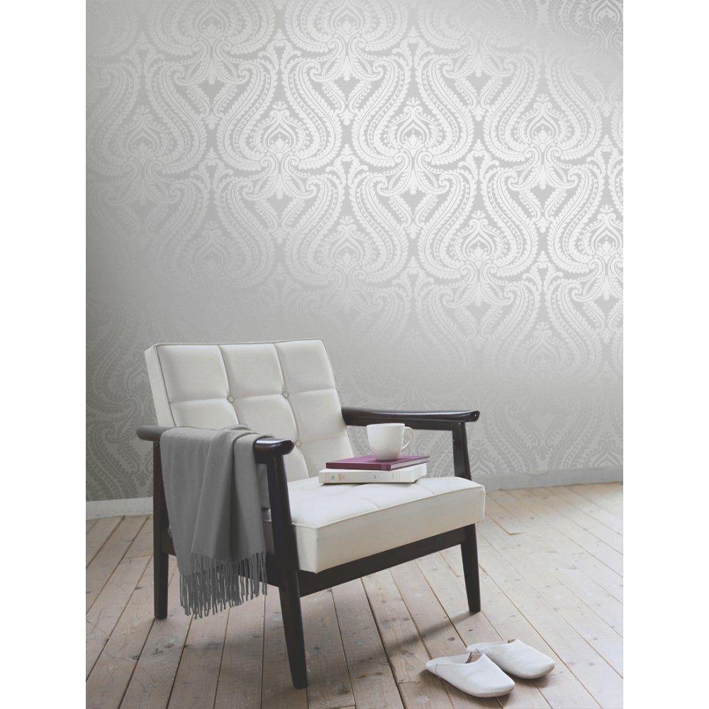 I Love Wallpaper Shimmer Metallic Damask Soft Grey Silver Teal Gold Ebay