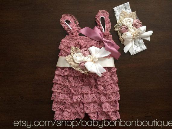 petti romper, lace romper, baby girl romper, headband and sash set, vintage girl romper, girl photography