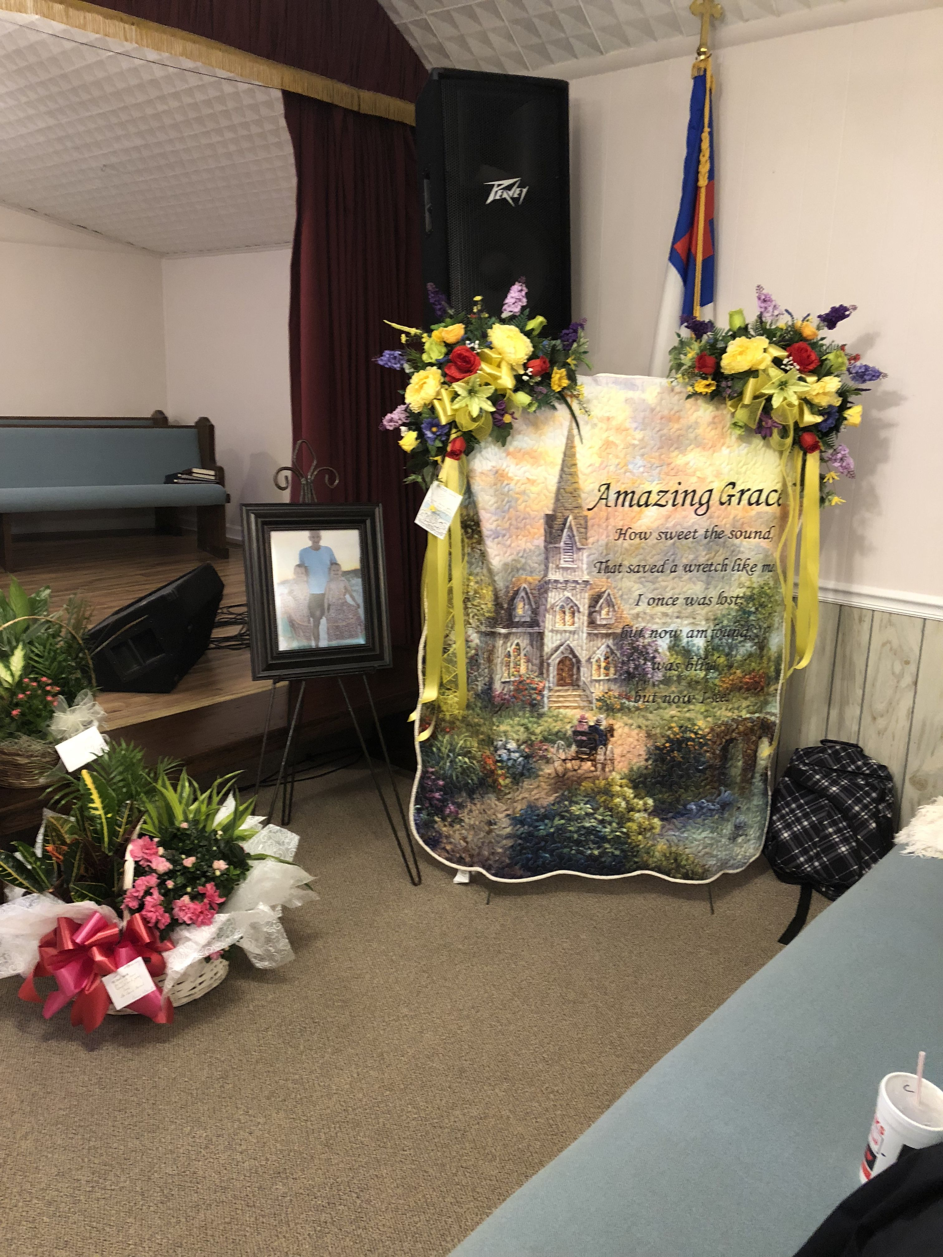 Created by burns florist table decorations funeral
