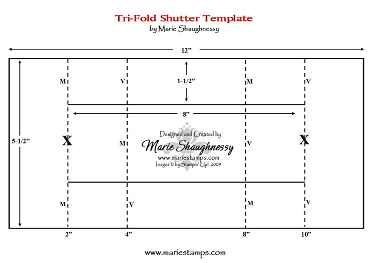Free Tri-Fold Card Template FUN  FANCY FOLDS #1, TRI-FOLD SHUTTER