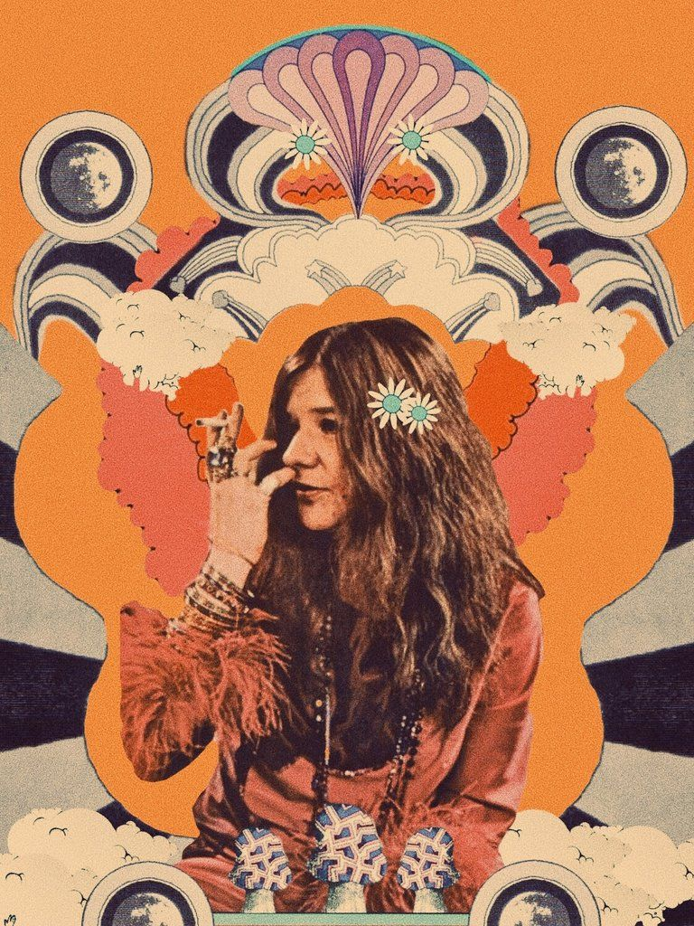 Pin By Crystal Vielula On Art Illustration Collage Hippie Art Janis Joplin Psychedelic Art