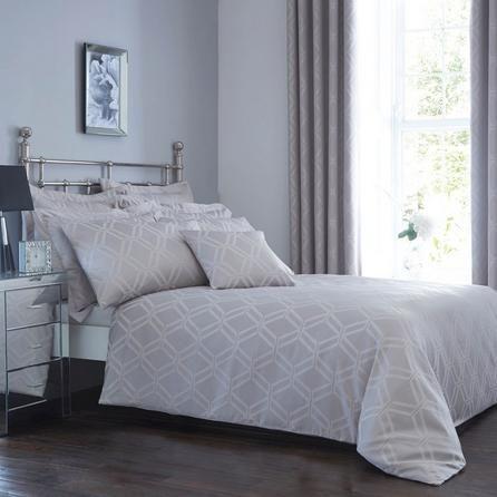 7db421a7374 Dunelm Geometric Grey Geo Jacquard Duvet Cover and Pillowcase Set ...