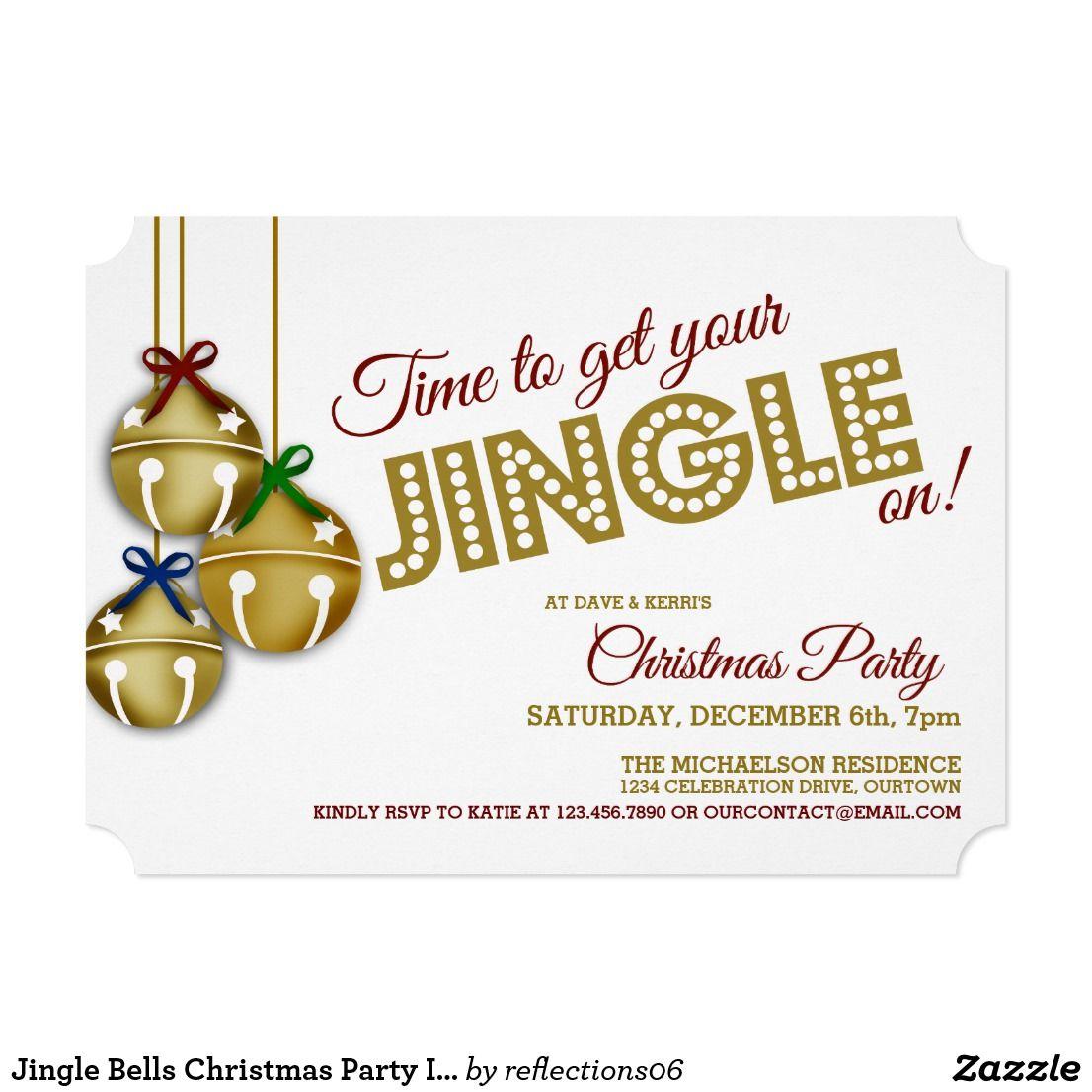 Jingle Bells Christmas Party Invitation Zazzle Com Christmas Party Invitations Party Invitations Holiday Invitations