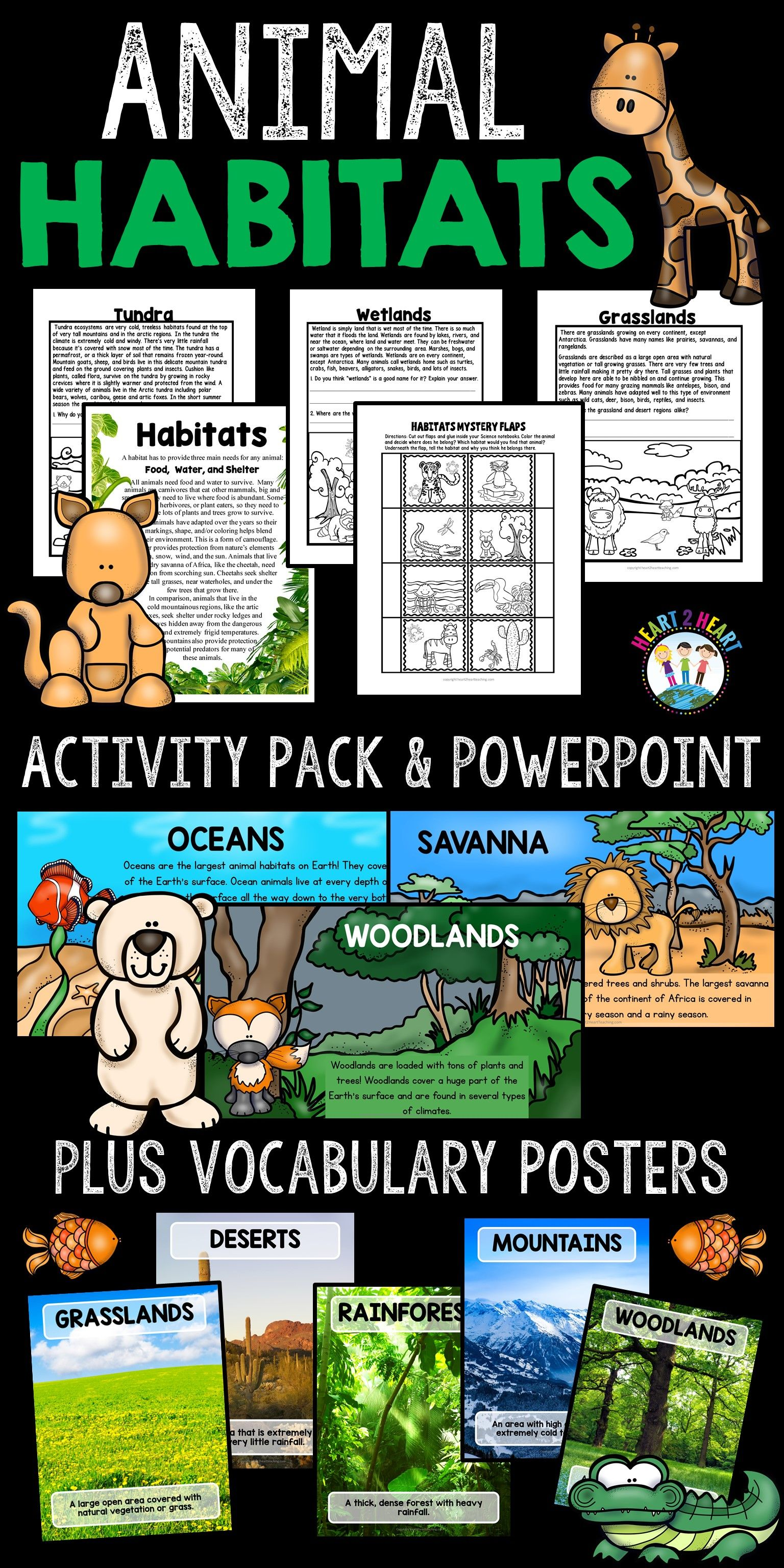 Animal Habitats Bundle with Activity Pack, PowerPoint