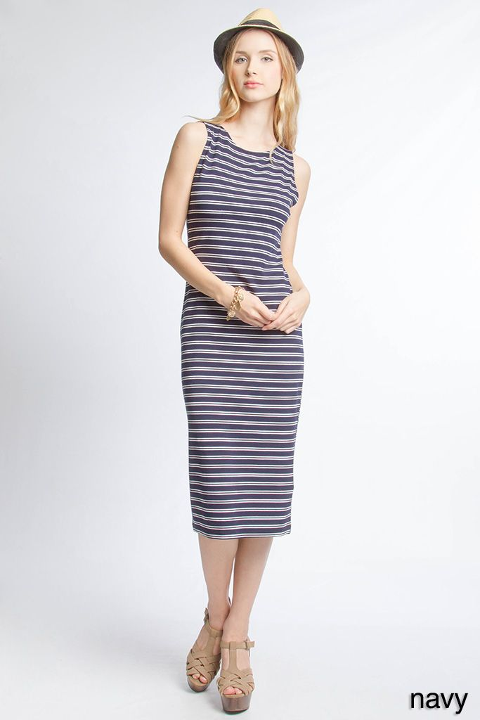 Navy tee length dress