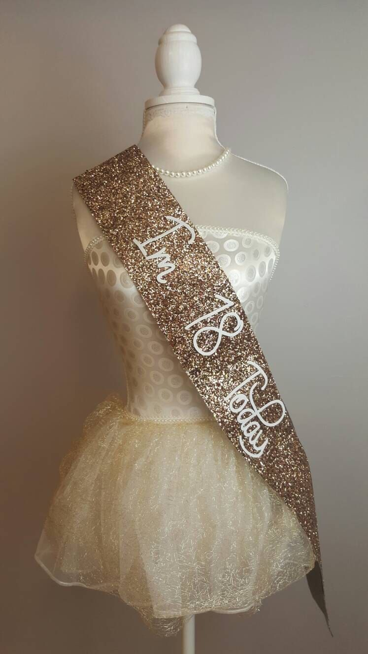 ROSE GOLD 18th Birthday Sash - Glitter Sash - Personalised