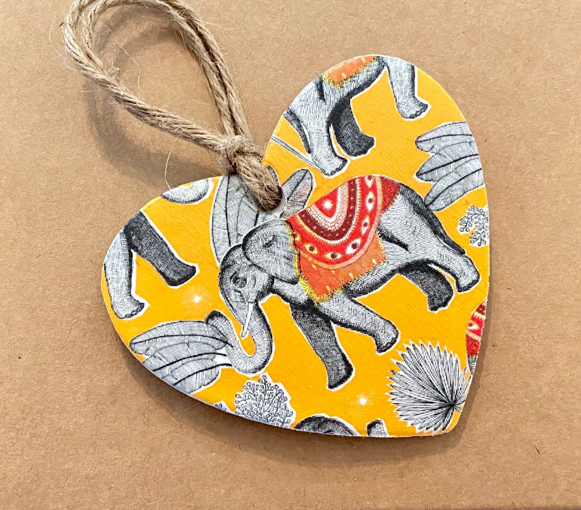Excited to share this item from my #etsy shop: Mustard Elephants Hanging Heart Decoration (8x8cm's) #elephants #mustard #heart #walldecor #hangingdecoration #handmade #gift