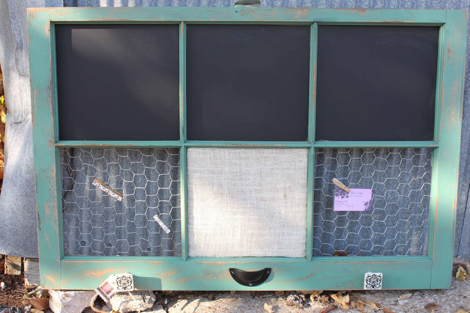 chicken wire home decor | RESERVED - Old Window - Shabby Chic Jade ...