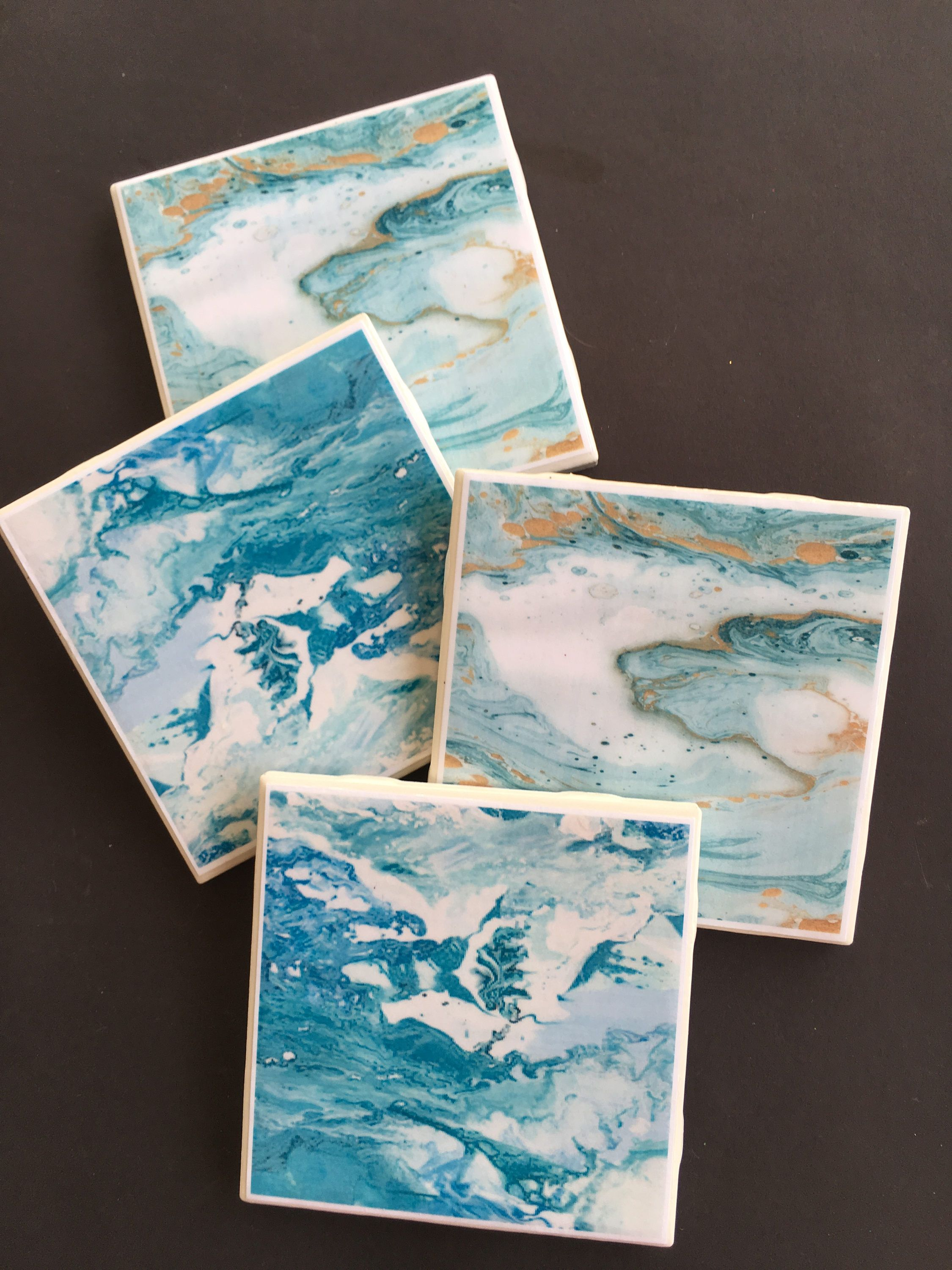 Blue Marble Coasters Ceramic Tile Coaster Set Drink Shower Gift