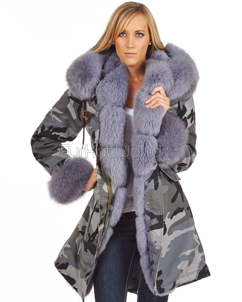 The Captain Grey Fur Lined Military Parka with Premium Fox Trim ...