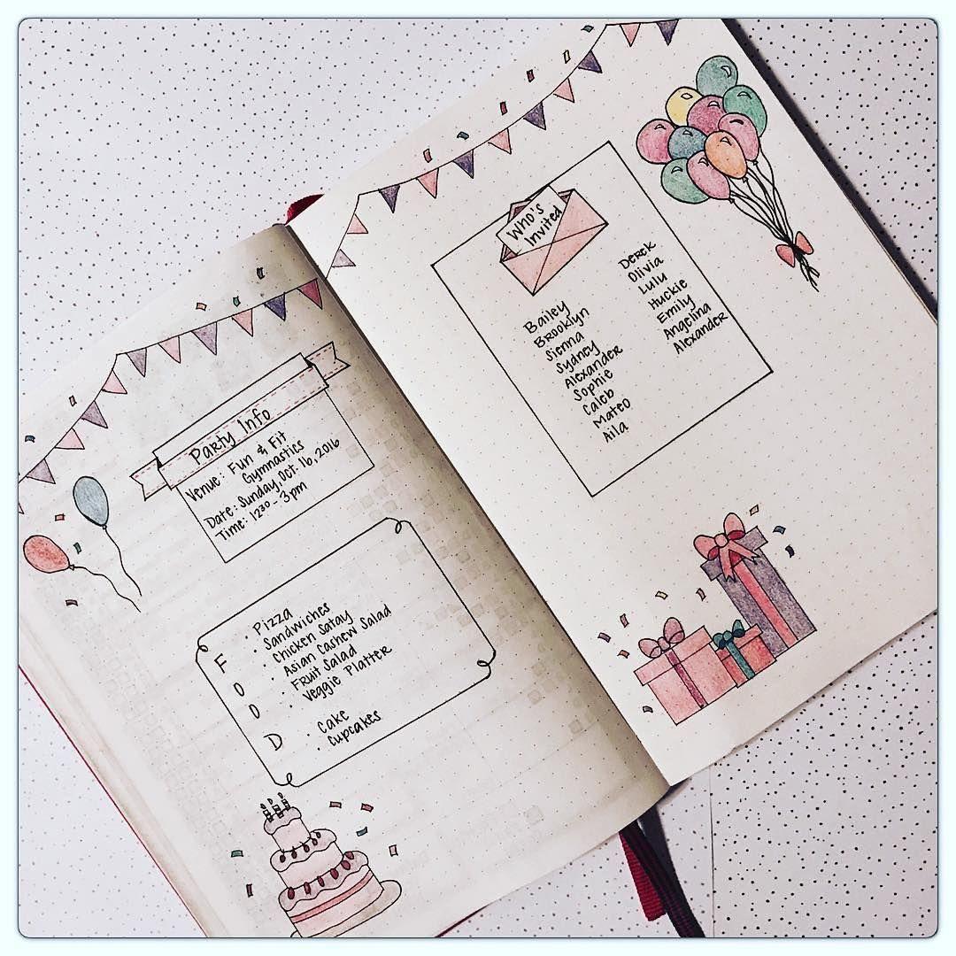 Bullet Journal Party Planning | Bullet Journal | Bullet ...