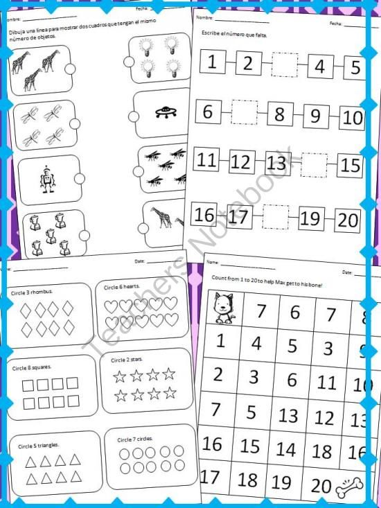English Spanish Counting Practice Worksheets Activity Cards