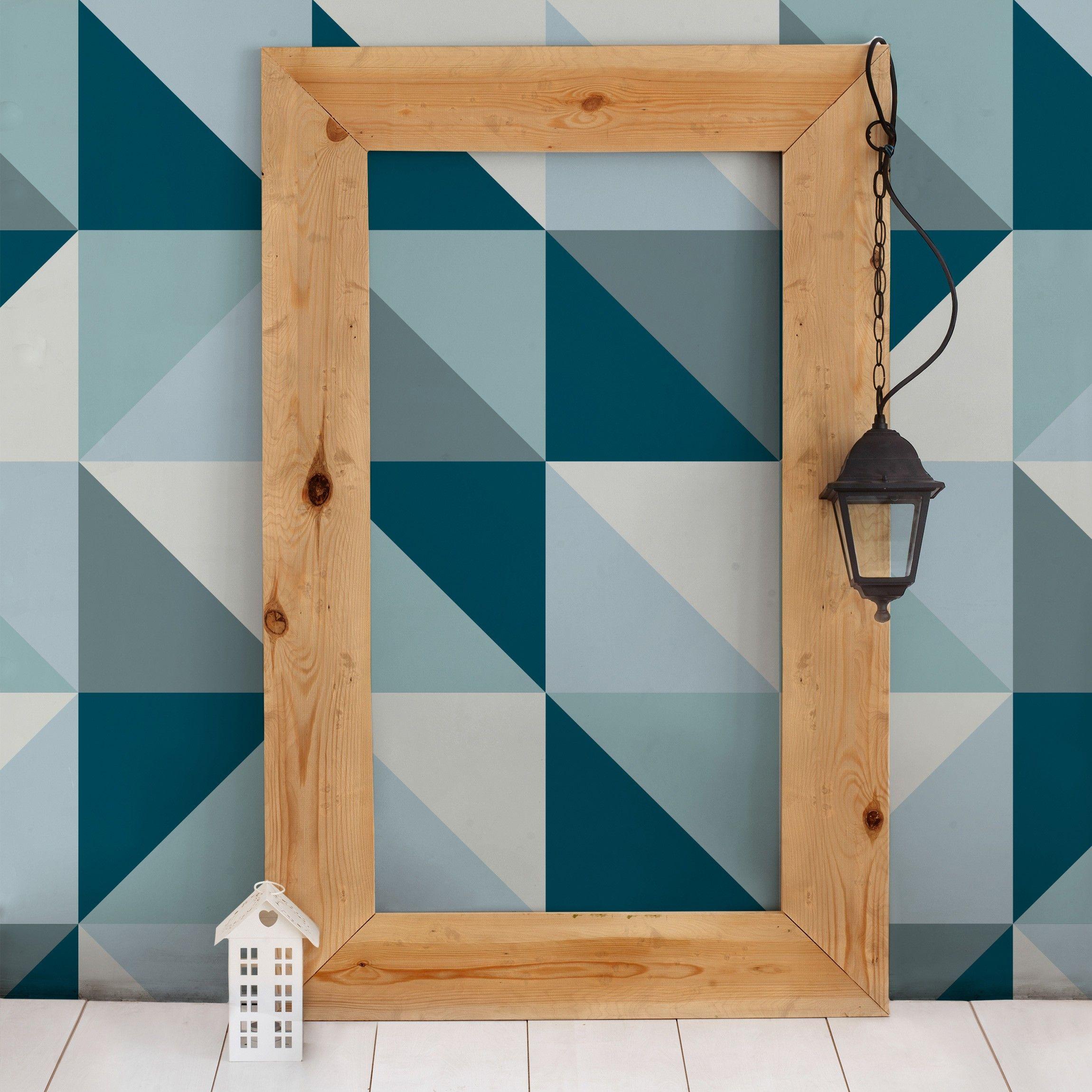 Design Tapete  Blaues Dreieck Muster  Vlies Fototapete Breit