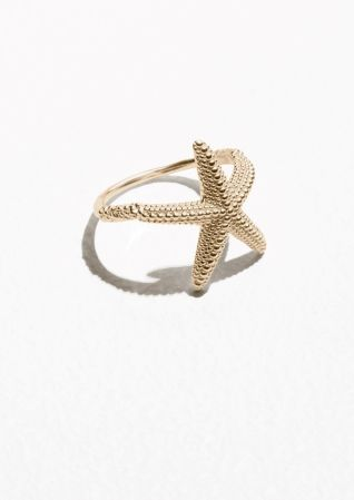 Sterling Silver 18k Gold Plated CZ Nautical Starfish Statement Rings