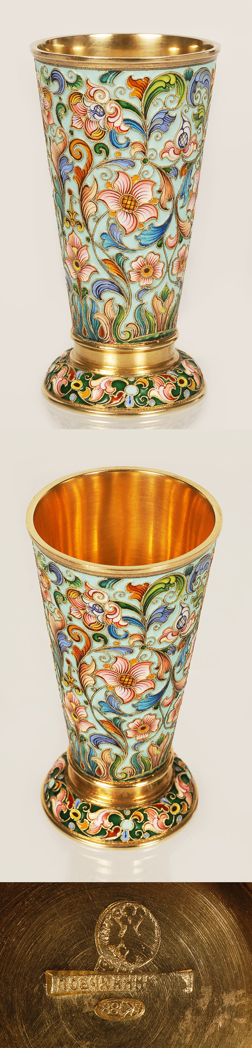 A Russian silver gilt and shaded cloisonne enamel beaker, workmaster Feodor Ruckert, Moscow, circa 1896-1908. Tapering cylindrical form on a domed foot the body enameled with shaded varicolor flowers and stylized scrolling foliage on a light turquoise ground, the foot enameled with similar floral motif on a green ground, the interior is gilt.