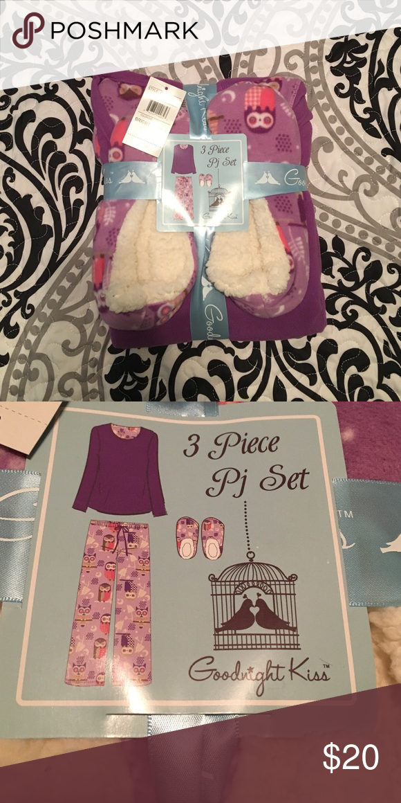 3 piece pajama set Brand new. Super soft. 100% polyester. Owl print. Includes long sleeve top, pants, and house shoes. Intimates & Sleepwear Pajamas