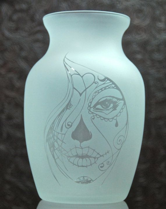 Sugar Skull Vase Glass Etched Vase Day Of The Dead Etched