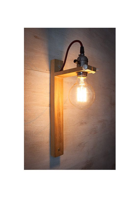 Recycled Wall Sconce G80 Edison Lamp Wood Rustic Industrial Light Handmade White Fog